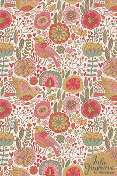 floral with birds : By Julia Grigorieva