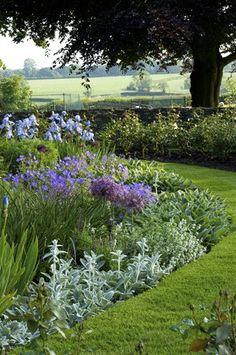 Tuinborder met verschillende bloemen en planten.