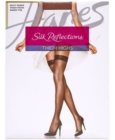 Hanes Silk Reflections Sheer Thigh Highs 720 - Brown 3