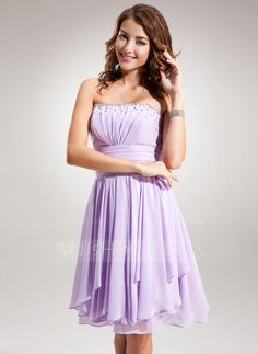 Homecoming Dresses - $118.99 - Empire Strapless Knee-Length Chiffon Homecoming Dress With Ruffle Beading (022016384) http://jjshouse.com/Empire-Strapless-Knee-Length-Chiffon-Homecoming-Dress-With-Ruffle-Beading-022016384-g16384?ver=0wdkv5eh
