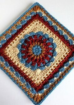 Floral Dimension Afghan Squareby Laurie Dale - This pattern is...