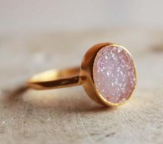 Pink Mauve Druzy Stacking Ring - Vermeil Gold - Hammered Band by OhKuol