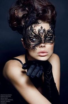 Glamorous Black Laser Cut Venetian Masquerade Mask with Precision Cut Crystals - Made of High Quality Light Metal