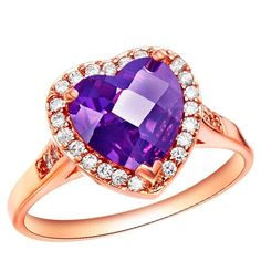 Sterling Silver Rose Gold Finish Amethyst CZ Thick Heart Ring Sz 6-9