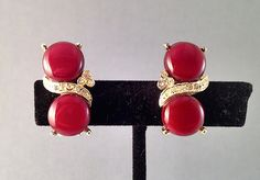 Vintage Kramer clip rhinestone red glam earrings in gold tone by wrensnestvintage. Explore more products on http://wrensnestvintage.etsy.com