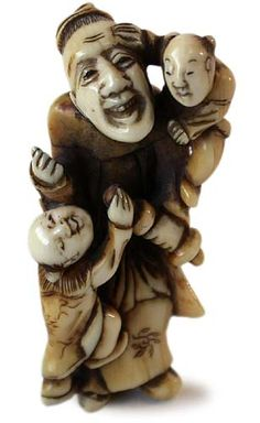 Early 19th Century Edo Karako Teacher Carved Ivory Netsuke Signed Rantei