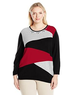 244cc8cd29354 Alfred Dunner Women s Plus Size Classic Colorblock Sweater at Amazon  Women s Clothing store