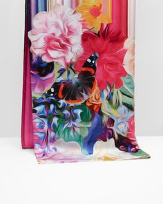 Floral Swirl long silk scarf - Fuchsia | Scarves | Ted Baker