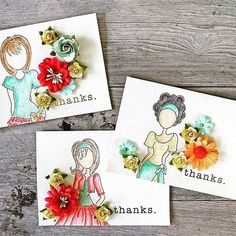 ・・・ I created some thank you cards using these sweet Julie Nutting doll stamps and colorful flowers. These sweet girls will be in Michaels soon ❤️❤️❤️ Paper Doll Craft, Prima Paper Dolls, Prima Doll Stamps, Doll Crafts, Atc Cards, Card Tags, Julie Nutting, Thanks Card, Cards For Friends