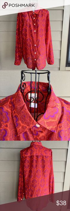 """J Crew Perfect Shirt Silk Cotton Paisley Blouse Featherweight, 70% cotton/30% silk fabric Red & purple paisley print Button front Long sleeves w/ buttons Classic design Lovely pre-owned condition Measurements, lying flat & closed: Length:  27"""" Bust:  19"""" Sleeve inseam: 19"""" J. Crew Tops Blouses"""