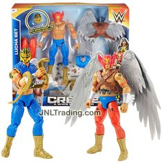 """Mattel Year 2015 Create A WWE Superstar 7"""" Tall Figure LUCHA SET with Rey Mysterio & Red Mask Heads, Wing Pack, 2 Sets of Leg & Feet, Snake & Guitar"""