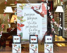Vitrine Opticiens Maurice Frères - juin 2015 : Bonjour les beaux jours ! #opticiens #opticien #lunettes #vitrines #solaires #papillons