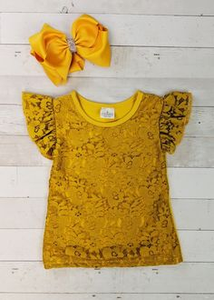 Mustard yellow short sleeve top with lace overlay. Any accessories shown are not included. Toddler Boutique Clothing, Wholesale Children's Boutique Clothing, Girls Boutique, Cute Girl Outfits, Trendy Outfits, Cut Out Leggings, Denim Overall Dress, Ruffle Sleeve Dress, Lace Overlay