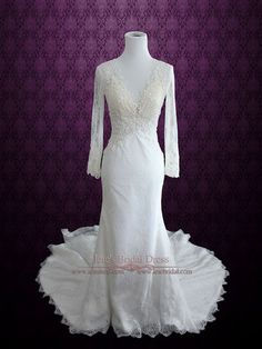 Vintage Style Lace Wedding Dress with Plunging Neckline Long Sleeves