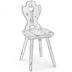 ADIGE. La sedia Adige è una classica sedia tirolese in legno di pino con schienale con decoro a cuore.