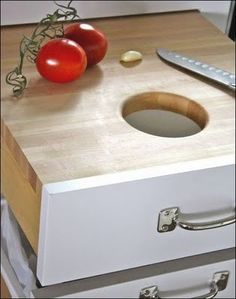 Great idea for a cutting board and trash!!!!
