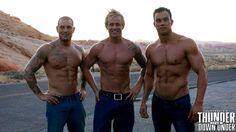 It's #mancrushmonday with Mick, Ryan & Beau BTS at our 2016 calendar shoot!  Monday's aren't so bad after all...  To find out more about the #thunder blokes visit our website   #Monday #thundervegas #downunder #mancandy #mcm