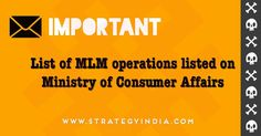 """We have had hundreds of queries from across the country about if the companies published by the Ministry of Consumer Affairs were sustainable MLM operations.  The companies listed on the Ministry of Consumer Affairs website (http://consumerhelpline.gov.in/directsellingentities/) as """"List of Direct Selling Entities whose declaration have been received till 24-01-2017 and who have furnished complete documents.""""  #mlmoperation #directsellingindia #mlmindia  #mlmlegal #directsellingpolicies"""