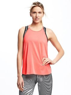 High-Neck Performance Swing Tank For Women Workout Tank Tops, Coral Pink, Old Navy, Athletic Tank Tops, Vest, Women, Fashion, Moda, Fashion Styles