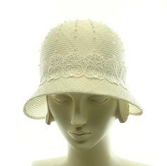 Handmade White Hat for Women - Downton Abbey Wedding Hat - Vintage Style Cloche Hat - Straw Hat. $285.00, via Etsy.