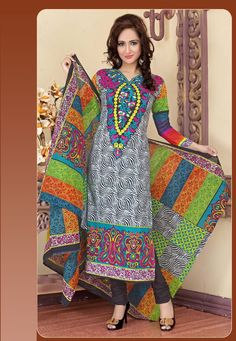 A chic Black & White Color Cotton Designer salwar Kameez featuring a printed yoke and border