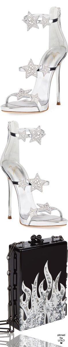 Giuseppe Zanotti Metallic Leather Star Sandal and Edie Parker Clutch