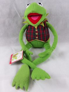 "EDEN KERMIT THE FROG MUPPETS PLAID VEST JIM HENSON 24"" PLUSH Kohl's Exclusive #Eden"