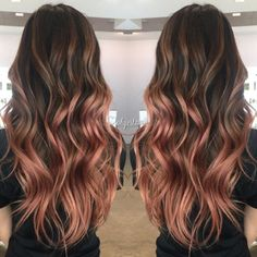 My rose gold balayage more. my rose gold balayage more gold hair colors Rose Gold Balayage Brunettes, Balayage Hair Rose, Balayage Hairstyle, Copper Balayage, Copper Ombre, Cabelo Rose Gold, Gold Hair Colors, Purple Hair, Ombré Hair