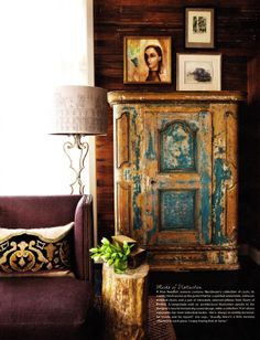 Chippy blue Swedish armoire in home of Barbara Westbrook