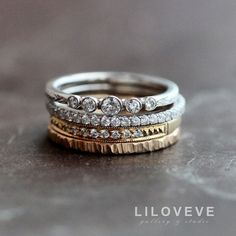 47 Best Stacked Wedding Bands Images On Pinterest Jewelry Stacked