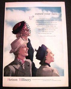 Vintage 1947 Stetson Millinery Pretty Ladies Wearing Hats Blue Sky 40's Print Ad | eBay