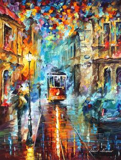 Blue Trolley — Palette Knife Blurred Cityscape Wall Art Oil Painting On Canvas By Leonid Afremov. Popular Paintings, Palette Knife Painting, Leonid Afremov Paintings, Beautiful Paintings, Oil Painting On Canvas, Art Oil, Oeuvre D'art, Cool Art, Abstract Art