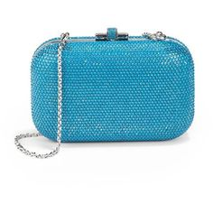 Judith Leiber Turquoise Blue Crystal Slide-Lock Clutch ($1,097) ❤ liked on Polyvore
