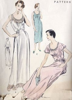 1950s Misses Nightgown Vintage Sewing Pattern by MissBettysAttic, $18.00