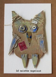Cardboard+art+3D+one+of+a+kind+broody+owl+by+ColetteCopeland,+$39.00