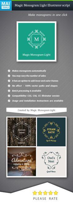 Magic Monogram Light Illustrator Script — Vector EPS #monogram #create • Available here → https://graphicriver.net/item/magic-monogram-light-illustrator-script/13992996?ref=pxcr