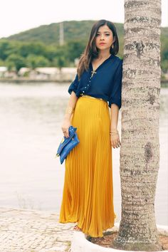Leticia Oliveira // Yellow maxi with navy blouse.