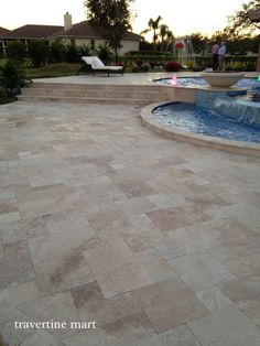 Ivory Swirl ™ Travertine Pavers - The Official Pool Paver of DIY's Vanilla Ice… Pool Paving, Swimming Pool Landscaping, Backyard Retreat, Backyard Patio, Patio Tiles, Pool Tiles, Concrete Patio, Travertine Pavers, Pool Remodel