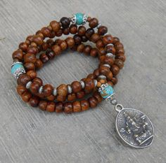 success, 108 Wood prayer beads and turquoise gemstone with Ganesh pend – Lovepray jewelry