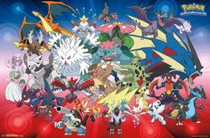 Pokemon Wall Poster - Mega Evolutions - Great Party Decorations