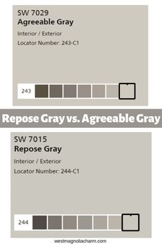 Have you ever been curious what the differences are between 2 of the most popular Sherwin Williams Gray Paint Colors, Repose gray and Agreeable Gray? Find out how they fabulous gray paint colors stack up against one another. Most Popular Paint Colors, Best Gray Paint Color, Greige Paint Colors, Paint Colors For Home, Grey Paint, Neutral Paint, Gray Color, Sherwin Williams Sea Salt, Sherwin Williams Grau