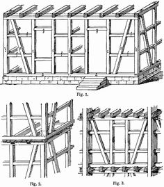 Illustration of timber framing from the Lexikon der gesamten Technik by Otto Lueger (German engineer, Wood Frame Construction, Construction Drawings, Casa Estilo Tudor, Pier And Beam Foundation, Wood Frame House, Pergola, Medieval Houses, Wooden Buildings, Timber Frame Homes