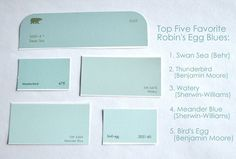 Robin egg blue paint newest top 5 s blues swan sea behr thunderbird benjamin moore watery sherwin williams meander bird Interior Paint Colors, Paint Colors For Home, Paint Colours, Ocean Blue Paint Colors, Color Blue, Interior Design, Paint Decor, Interior Painting, Interior Walls