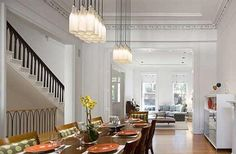Interior Design of Brooklyn Brownstone by 1100 Architect - dining room and living room Brooklyn Brownstone, Large Dining Room Table, Dining Room Design, Architectural Digest, Brownstone Interiors, Townhouse, Decoration, Home Interior Design, Interior Ideas