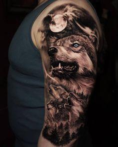 42 Ideas Two Wolf Tattoo Sleeve 2020 Wolf Tattoo Shoulder, Wolf Tattoo Forearm, Cool Forearm Tattoos, Body Art Tattoos, Cool Tattoos, Tattoo Ink, Tatoos, Wolf Sleeve, Wolf Tattoo Sleeve