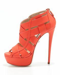 Ruthie Davis Halle Caged Platform Bootie, Lipstick | Naughty Gal Shoes