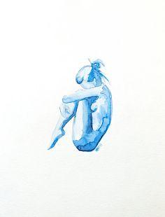 Fine Art Print blue Watercolor nude woman figure by ArtbyVBM Painting Inspiration, Art Inspo, Life Drawing, Art Plastique, Figure Painting, Monet, Watercolor Paintings, Tattoo Watercolor, Art Drawings
