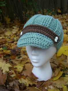 Mint and Cocoa Mary Jane Crochet Newsboy Knit Hat by dahliasoleil, $38.00