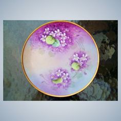 """Vintage Bavaria Hand Painted """"Deep Violets"""" Plate by the Artist, """"H. Hand Painted Plates, Painted Vases, Fancy Hands, Pink Poppies, Yellow Flowers, Red And Pink Roses, Recycled Crafts, Vintage Roses, Vibrant Colors"""