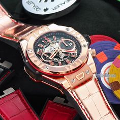 Hublot Big Bang UNICO WORLD POKER TOUR, #limited Edition 100pieces, polished 18kt king gold case, bezel embossed with 4 playing cards, skeleton dial, 2 straps: shiny gold, matte red & black. Delivered in a large box with full set of poker chips and full deck of playing cards. Hublot reference #411.ox.1180.lr.wpt15 MSRP $42,000 Visit https://www.prestigetime.com/item/Hublot/Big-Bang-UNICO-45mm/411.ox.1180.lr.wpt15.html to View Special Price. #Hublot #BigBang #UNICO #Poker #WPT